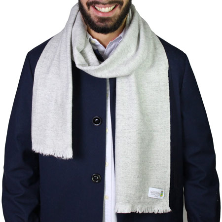 Men's silver grey cashmere and wool scarf - Diamond pattern