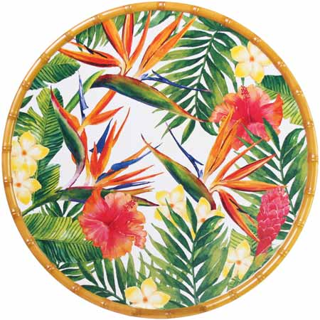 Round Serving Dish - Bamboo-effect rim - 100% melamine - 35,5 cm - Exotic Flowers