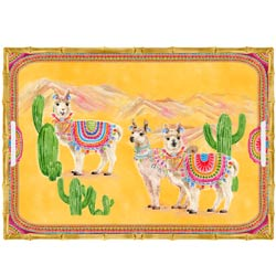 Large Rectangular Serving Tray - Bamboo-effect rim - 50 cm - Llamas