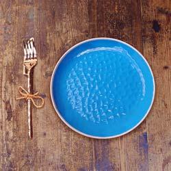 Flat bord van 23 cm van pure melamine - Blauw. 2 stukken