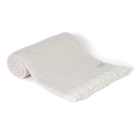 Almond beige lightweight cashmere and wool throw - 130 x 230 cm