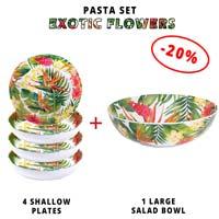 Pasta service: 1 salad bowl + 4 soup plates (-20%) Exotic Flowers Theme