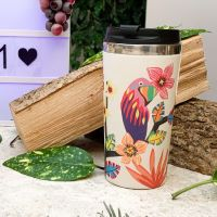"""Isothermal mug / Bamboo Thermos - Stainless steel interior - """"Parrots"""""""