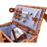 """Cestino da picnic """"Saint Germain"""" Vichy blu, di vimini, 4 persone"""