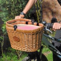"Panier Vélo isotherme en osier ""Chantilly"" Vichy rouge - Panier picnic"