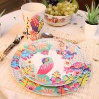"""Piccoli piatti da dessert in bambù Ø 20 cm - set di 4 - """"Pappagalli"""""""