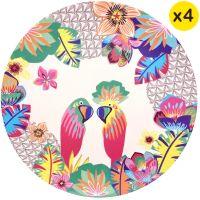 "Large bamboo plates Ø 25 cm - set of 4 - ""Parrots"""