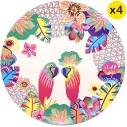"""Platte borden van bamboevezel Ø 25 cm - set van 4 - """"Papegaaien"""""""