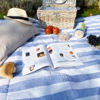 Picknickdecke wasserdicht himmelblau und weiß XXL (280 x 140 cm)