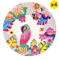 "Small bamboo dessert plates Ø 20 cm - set of 4 - ""Parrots"""