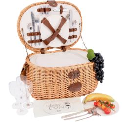 "Picnic basket  ""Vendôme Naturall"" with bamboo plates -4 persons"