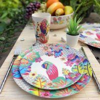 """Kleine Bambus-Dessertteller Ø 20 cm - 4 Stück - """"Papageien"""""""