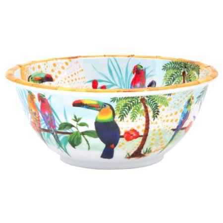 Deep salad bowl in melamine - 25 cm - Toucans of Rio