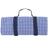 Tovaglia da picnic, gingham blu, con risvolto impermeabile (140 x 140 cm)
