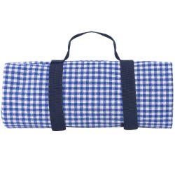 Picknick tafelkleed, blauw geruit, met waterdichte revers (140 x 140 cm)