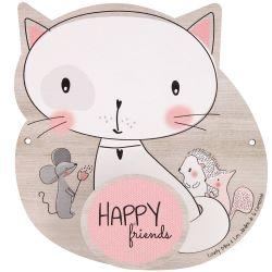 """Houten kinderkapstock """"Happy Friends"""" met Lily de kat"""
