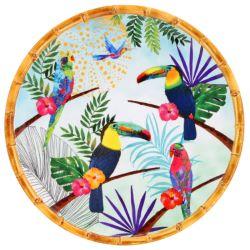 Großer flacher Teller aus reinem Melamin 28 cm - Tukanen aus Rio