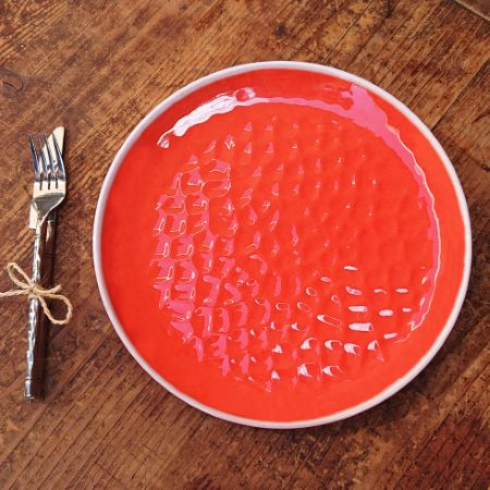 Large melamine dinner plate - Coral Red. 2 pieces
