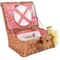 "Picnic basket ""Solo"" red gingham fabric - wicker - 1 person"