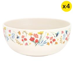 "Bamboo bowls Ø 15 cm - set of 4 - ""Wildflowers"""