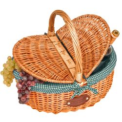 "Wicker basket ""Campagne"" - Green Gingham"