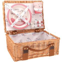 """Picknickkorb für Kinder aus Weide und rosa Bambusgeschirr - """"Lily das Kätzchen"""