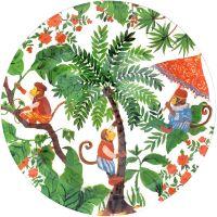 Großer Teller /Runder Teller, transparent, 29,5 cm - Bali-Affen