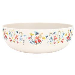 "Bamboo salad bowl Ø 28 cm - large size - ""Wildflowers"""