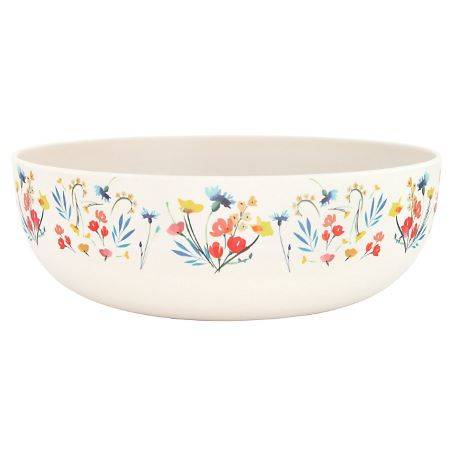 "Bamboo salad bowl Ø 28 cm - large size - ""Wildflowers"""