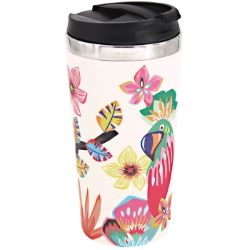"Isothermal mug / Bamboo Thermos - Stainless steel interior - ""Parrots"""