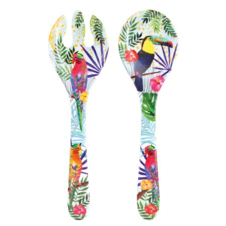 Salad servers in melamine - 33 cm - Toucans of Rio