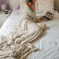 Plaid cachemire et laine Camel - Plaid léger grands chevrons - 130 x 230 cm