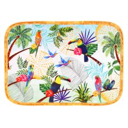 Large Rectangular presentation tray in melamine - 45 cm  - Toucans of Rio