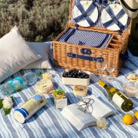 Groot blauw en wit XL gestreept picknicktafelkleed met waterdichte revers (280 x 140 cm)