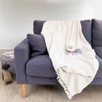 Plaid comfort cachemire e lana, motivo chevron piccolo avorio - 130 x 230 cm