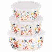 "Set of three bamboo food preservation boxes - ""Wildflowers"" theme"