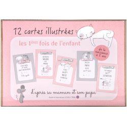 """Cartes étapes illustrées """"les premières fois de bébé"""" - Lily Le Chaton"""
