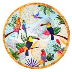 Piatto da Portata Tondo - bordi effetto bambù - pura melamina - Tucani di Rio