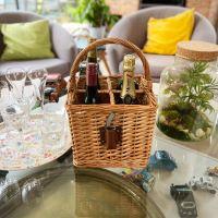 Wicker bottle basket - 4 racks