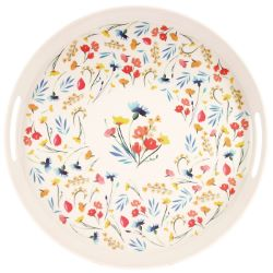 """Round bamboo serving tray with handles - """"Wildflowers"""""""
