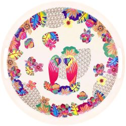 """Round bamboo serving tray with handles - """"Parrots"""""""