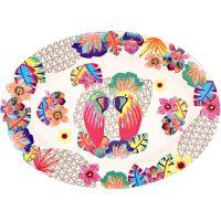 """Ovale Servierplatte aus Bambus 39,5 x 29 cm - """"Papageien"""""""