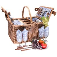 "Picnic basket ""Saint-Germain"" Blue Gingham - 4 people - wicker"