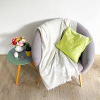 Almond beige lightweight cashmere and wool throw - 130 x 230 cm