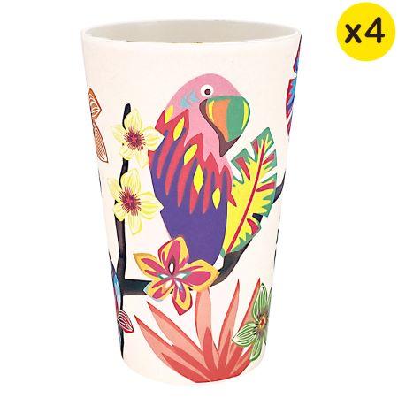 """Bambus-Gläser - Ökologischer Becher - 4 Stück - """"Papageien"""""""