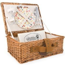 "Picnic basket ""Solo"" linen fabric -  wicker - 1 person"