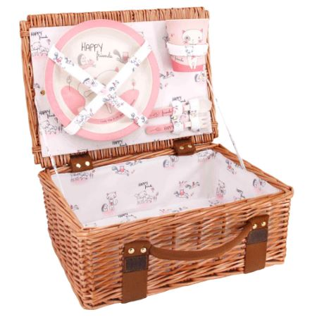 "Picnic basket ""Lily the Cat"" for children in wicker and bamboo tableware"