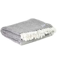 Komfortdecke aus Kaschmir und Wolle: mausgrau mit klein fischgrätenmuster - 130 x 230 cm