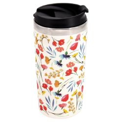 "Isothermal mug / Bamboo Thermos - Stainless steel interior - ""Wildflowers"""
