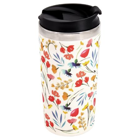 """Isothermal mug / Bamboo Thermos - Stainless steel interior - """"Wildflowers"""""""